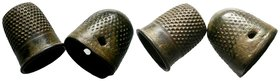 Byzantine Bronze Thimble 2x  Condition: Very Fine  Weight: 5.14 gr Diameter: 18.14 mm