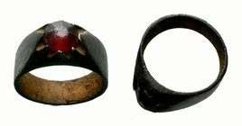 Ancient Byzantine Ring with red stone on bezel,  Condition: Very Fine  Weight: 8.18 gr Diameter:26.57 mm