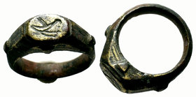 Ancient Byzantine Ring bird on bezel,  Condition: Very Fine  Weight: 12.91 gr Diameter: 28.93 mm