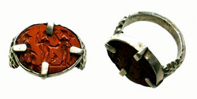Roman Silver Ring with stone inlaid,  Condition: Very Fine  Weight: 7.28 gr Diameter: 22.22 mm