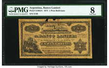 Argentina Banco Lanieri 1 Peso Boliviano 10.11.1871 Pick S1983A PMG Very Good 8. Pieces missing, foreign substance.  HID09801242017