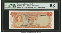 Bahamas Central Bank 5 Dollars 1974 Pick 37a PMG Choice About Unc 58.   HID09801242017