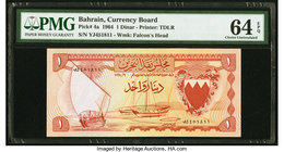 Bahrain Currency Board 1 Dinar 1964 Pick 4a PMG Choice Uncirculated 64 EPQ.   HID09801242017