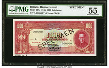 Bolivia Banco Central 1000 Bolivianos 20.12.1945 Pick 144s Specimen PMG About Uncirculated 55. Previously mounted.  HID09801242017