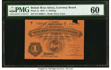 British West Africa West African Currency Board 1 Shilling 30.11.1918 Pick 1a PMG Uncirculated 60. Staple hole damage, previously mounted.  HID0980124...