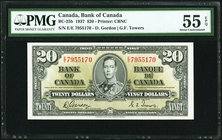 Canada Bank of Canada $20 1937 BC-25b PMG About Uncirculated 55 EPQ.   HID09801242017