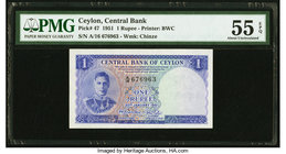 Ceylon Central Bank of Ceylon 1 Rupee 20.1.1951 Pick 47 PMG About Uncirculated 55 EPQ.   HID09801242017