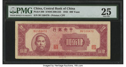 China Central Bank of China 400 Yuan 1945 Pick 280 S/M#C300-233 PMG Very Fine 25.   HID09801242017