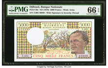 Djibouti Banque Nationale 5000 Francs ND (1979) Pick 38c PMG Gem Uncirculated 66 EPQ.   HID09801242017