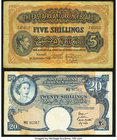 East Africa East African Currency Board 5 Shillings 1.9.1943 Pick 28b; 20 Shillings ND (1958-60) Pick 39 Fine-Very Fine.   HID09801242017