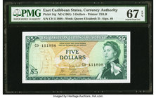 East Caribbean States Currency Authority 5 Dollars ND (1965) Pick 14g PMG Superb Gem Unc 67 EPQ.   HID09801242017