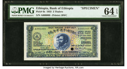 Ethiopia Bank of Ethiopia 2 Thalers 1.6.1933 Pick 6s Specimen PMG Choice Uncirculated 64 EPQ. One POC.  HID09801242017