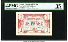French Equatorial Africa Gouvernement General 1 Franc ND (1917) Pick 2a PMG Choice Very Fine 35. Previously mounted, minor rust.  HID09801242017