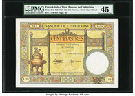 French Indochina Banque de l'Indo-Chine 100 Piastres ND (1936-39) Pick 51d PMG Choice Extremely Fine 45. Stain.  HID09801242017