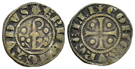 The Crown of Aragon. Ermengol X (1267-1314). Dinero. Condado de Urgell. (Cru-128). Ve. 0,86 g. Báculo entre tréboles y punto. Choice VF. Est...30,00....