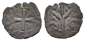 Kingdom of Castille and Leon. Alfonso IX (1188-1230). Óbolo. Without mint mark. (Bautista-249). Ve. 0,20 g. Choice F. Est...25,00.