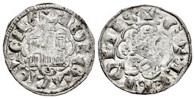 Kingdom of Castille and Leon. Alfonso X (1252-1284). Novén. Coruña. (Bmc-395). Ve. 0,81 g. Venera antigua bajo castillo. Almost XF. Est...30,00.