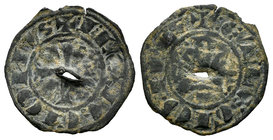 Kingdom of Castille and Leon. Infante Juan (1296). Dinero - Meaja. (Bautista-465). Ve. 0,67 g. Perforación. Rare. F. Est...60,00.