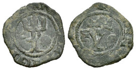 Catholic Kings (1474-1504). Blanca. Coruña. F. (Rs-268). Anv.: Roel y venera. Rev.: F y venera. Ae. 1,15 g. Almost VF. Est...50,00.