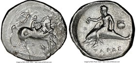 CALABRIA. Tarentum. Ca. 340-334 BC. AR stater or didrachm (22mm, 11h). NGC Fine. Nude youth riding horse rearing right, crowned by Nike flying right b...