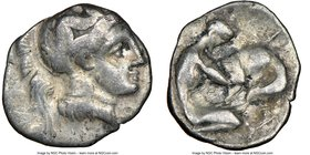 CALABRIA. Tarentum. 4th century BC. AR diobol (12mm, 3h). NGC Fine. Ca. 325-280 BC. Head of Athena right, wearing crested Attic helmet decorated with ...