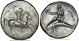 CALABRIA. Tarentum. Ca. early 3rd century BC. AR stater or didrachm (22mm, 10h). NGC XF. Ca. 302-280 BC. Deinocrates, and Si- magistrates. Warrior on ...