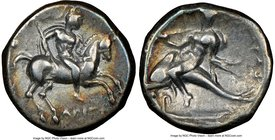 CALABRIA. Tarentum. Ca. 281-240 BC. AR stater or didrachm (20mm, 10h). NGC VF. Ca. 272-240 BC. Aristoc and Thi-, magistrates. Armored warrior on gallo...