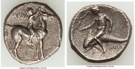 CALABRIA. Tarentum. Ca. 280-272 BC. AR stater or didrachm (20mm, 6.39 gm, 10h). XF. Philocra-, Kn- and Aristo-, magistrates. Nude jockey on horse stan...