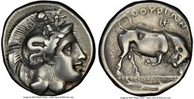 LUCANIA. Thurium. Ca. 410-350 BC. AR stater (21mm,7.70gm 12h). NGC Fine 4/5 - 3/5, brushed. Head of Athena right, wearing crested Attic helmet decorat...