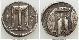 BRUTTIUM. Croton. Ca. 480-430 BC. AR stater (22mm, 7.76 gm, 12h). Choice VF. ϘPO (P retrograde), tripod with leonine feet, heron standing right to lef...
