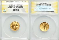 MACEDONIAN KINGDOM. Philip II (359-336 BC). AV stater (20mm, 3h). ANACS AU 50. Lifetime or early posthumous issue of Pella III, ca. 340-328 BC. Laurea...