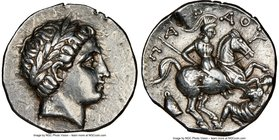PAEONIAN KINGDOM. Patraus (ca. 335-315 BC). AR tetradrachm (25mm, 12.81 gm, 10h). NGC Choice XF 5/5 - 3/5, edge cuts. Laureate head of Apollo right / ...