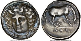 THESSALY. Larissa. Ca. 4th century BC. AR drachm (19mm, 6.07 gm, 11h). NGC XF 4/5 - 4/5. Head of nymph Larissa facing, turned slightly left, hair in s...