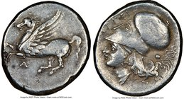 ACARNANIA. Argos Amphilocicum. Ca. 350-300 BC. AR stater (22mm, 8.54 gm, 5h). NGC Choice VF 5/5 - 3/5. Pegasus flying left, A below / APΓEI, head of A...