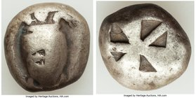 SARONIC ISLANDS. Aegina. Ca. 525-480 BC. AR stater (19mm, 12.02 gm). Fine, countermark. Sea turtle, viewed from above, head turned sideways, with thin...