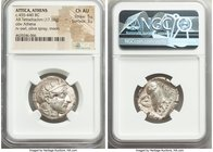 ATTICA. Athens. Ca. 455-440 BC. AR tetradrachm (24mm, 17.19 gm, 10h). NGC Choice AU 5/5 - 3/5. Early transitional issue. Head of Athena right, wearing...