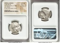 ATTICA. Athens. Ca. 440-404 BC. AR tetradrachm (24mm, 17.18 gm, 4h). NGC Choice AU 5/5 - 5/5. Mid-mass coinage issue. Head of Athena right, wearing cr...