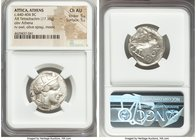 ATTICA. Athens. Ca. 440-404 BC. AR tetradrachm (25mm, 17.16 gm, 7h). NGC Choice AU 5/5 - 5/5. Mid-mass coinage issue. Head of Athena right, wearing cr...