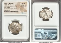 ATTICA. Athens. Ca. 440-404 BC. AR tetradrachm (25mm, 17.17 gm, 4h). NGC AU S 5/5 - 5/5. Mid-mass coinage issue. Head of Athena right, wearing crested...