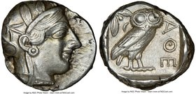 ATTICA. Athens. Ca. 440-404 BC. AR tetradrachm (25mm, 17.18 gm, 10h). NGC Choice XF 4/5 - 5/5. Mid-mass coinage issue. Head of Athena right, wearing c...