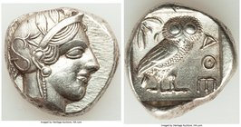 ATTICA. Athens. Ca. 440-404 BC. AR tetradrachm (24mm, 17.16 gm, 7h). XF, brushed. Mid-mass coinage issue. Head of Athena right, wearing crested Attic ...