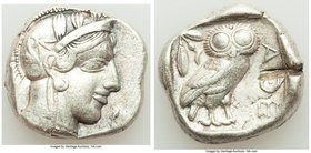 ATTICA. Athens. Ca. 440-404 BC. AR tetradrachm (25mm, 17.12 gm, 1h). VF, test cut. Mid-mass coinage issue. Head of Athena right, wearing crested Attic...