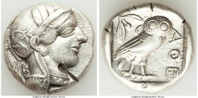 ATTICA. Athens. Ca. 440-404 BC. AR tetradrachm (24mm, 17.16 gm, 12h). VF, test cut. Mid-mass coinage issue. Head of Athena right, wearing crested Atti...