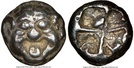 MYSIA. Parium. Ca. 500-450 BC. AR drachm (13mm). NGC Choice VF, edge cut. Gorgoneion facing with open mouth and protruding tongue / Crude disjointed i...