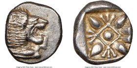IONIA. Miletus. Ca. late 6th-5th centuries BC. AR obol (10mm, 1.12 gm). NGC MS 5/5 - 5/5. Milesian standard. Forepart of roaring lion left, head rever...