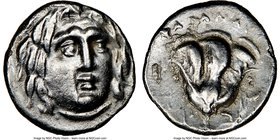 CARIAN ISLANDS. Rhodes. Ca. 230-205 BC. AR hemidrachm (11mm, 12h). NGC Choice XF, brushed. Anazandrus, magistrate. Facing head of Helios, turned sligh...