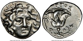 CARIAN ISLANDS. Rhodes. Ca. 205-190 BC. AR hemidrachm (12mm, 11h). NGC AU. Gorgos, magistrate. Facing head of Helios, turned slightly right, hair part...