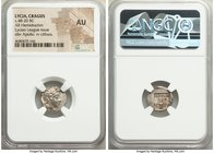 LYCIAN LEAGUE. Cragus. Ca. 48-20 BC. AR hemidrachm (15mm, 11h). NGC AU. Series 1. Laureate head of Apollo right / ΛΥΚΙΩΝ / K-P, cithara (lyre); all wi...