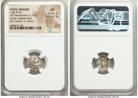 LYCIAN LEAGUE. Cragus. Ca. 48-20 BC. AR hemidrachm (14mm, 1.79 gm, 12h). NGC MS 5/5 - 4/5. Series 1. Laureate head of Apollo right; Λ-Y below / K-P, c...