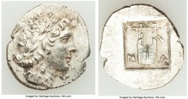 LYCIAN LEAGUE. Masicytes. Ca. 48-20 BC. AR hemidrachm (17mm, 1.99 gm, 1h). XF. Series 1. Laureate head of Apollo right; Λ-Y below / M-A, cithara (lyre...